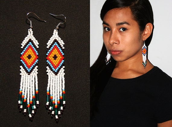 White Brick Stitch Earrings w/ Ojo de Dios, Huichol Earrings, Native American Earrings, Tribal Earrings, Traditional Beadwork, Authentic