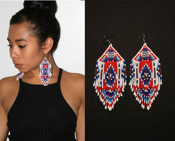 Geometric Aztec Earrings, Tribal Earrings, Native American Beaded Earrings, Pyramid Earrings, Large Dangling Earrings, Statement Earrings