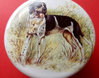 Gentlemen's Relish Dish. Featuring Hunting Dog. Measures 4inches in diameter. Porcelain.