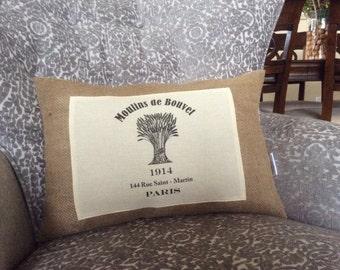 Moulins de Bouvet Ad Print, French Burlap Grain Sack Pillow Cover,