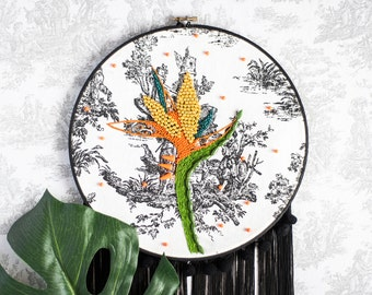 Bird of paradise embroidery