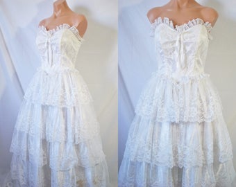 Vintage 80s Lace Wedding Dress White Eighties Prom Dress Floral Evening Dress Strapless Formal Princess Gown Bridesmaid Quinceanera Dress