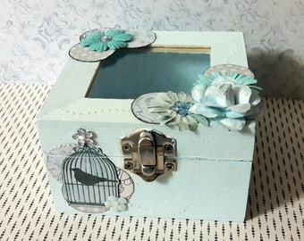 Pretty wooden box square shabby chic scrappee in ideal all flowery pastel blue tones box door alliance