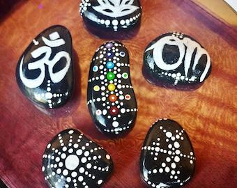 Painted Stones - MADE TO ORDER!!! Painted Rocks, Nature Decor, Zen Garden, Boho Decor, Stocking Stuffer, Small Gift, Christmas Gift  - 00251