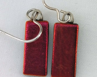 Red-Dichroic Glass Drop Earrings-925 Silver