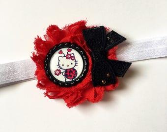 Hello Kitty Lady Bug Bottle Cap Shabby Flower Bow | Headband, Clip