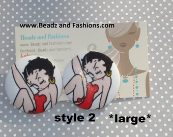 Betty Boop fabric covered earrings studs post