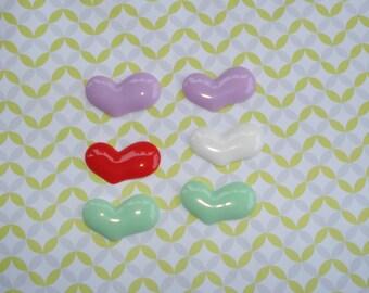 6pc mic color large hearts resin cabochon diy