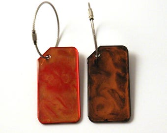 Luggage travel tag // Single copper metal suitcase bag tag