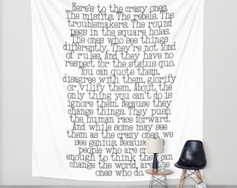 Crazy Ones, Dorm Tapestry, Success Tapestry, Inspiration, Motivation, Think Different, Apple Quote, Steve Jobs, Wall hanging, Change World