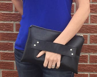 Black Vegan Leather Clutch with Handle