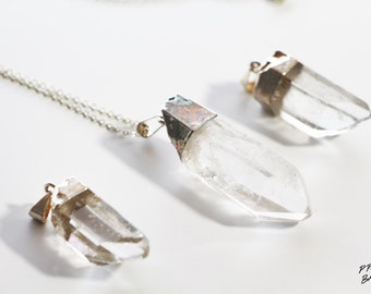 Silver Pendant Raw Crystal Point Necklace