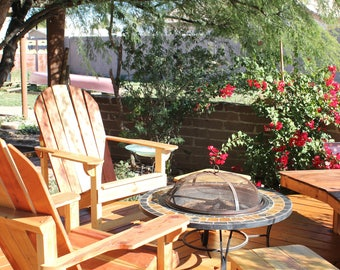 Set of 2 Adirondack Chairs Hand Made, Redwood, Super Comfortable, Outdoor, Weatherproof, Rustic, Cabin Furniture