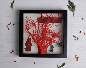 Little red riding hood picture frame, Paper cut art, Home decor, Box frame art, Paper cut box frame, FREE P&P!