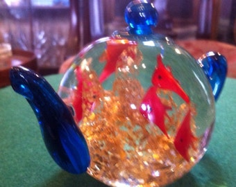 Vintage Dynasty Gallery Heirloom Collectibles Polychrome Blown Glass Aquarium Teapot Paperweight