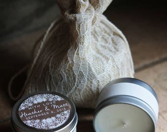 Vintage Lace Collection (48) Favors - 2oz Candle Wedding Favors - Natural Soy and Pure Essential Oil Candles - Eco-Friendly Custom Favors