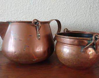 2 vintage copper pots kettle planters patina