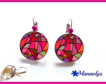 Earrings sleepers multicolor MOZAIC, 2359 glass cabochons