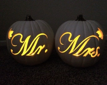 """Mr. & Mrs. 9"""" pumpkin set"""