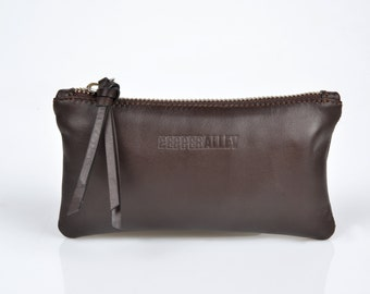 Brown Leather Purse with Ruby or Jade Satin Lining