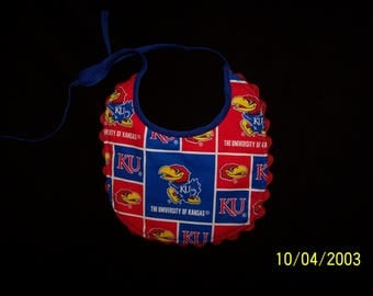 Univerity Of Kansas Reversible Baby Bib