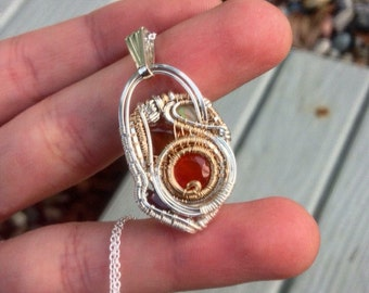 """Silver and Goldfill Wire Wrapped Talisman Pendant with Chalcedony Spinel Garnet and Fire Opal and 20"""" Sterling Silver Box Chain"""