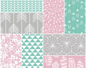 Custom Crib Bedding Set in pink, mint and gray, it has modern fabrics that have a boho feel
