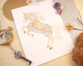 Watercolor Unicorn Print Greeting Card