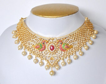 American Diamond peacock bridal necklace set with synthetic ruby and emerald stones and faux pearls with jhumki | Indian wedding Jewelry