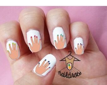 30 Nail Polish Hands Nail Decals