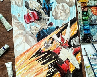 Pokemon Mega Lucario x Mega Blaziken Original Painting