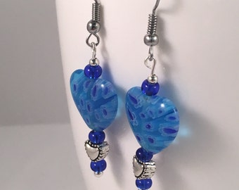 Blue dangle earrings, blue heart earrings, heart earrings, earrings heart, blue beaded earrings, blue earrings, earrings blue, drop earrings