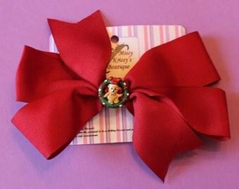 Burgundy Teddy Bear Wreath Hair Bow Hair Clip