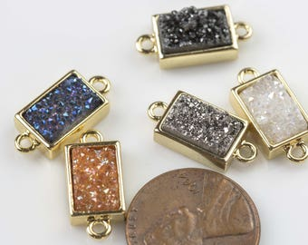 Assorted Druzy Rectangular Connector 8*12mm