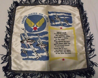 Vintage Souvenir U.S. Air Force Satin Pillow Cover with Fringe Mother Poem and Airplanes