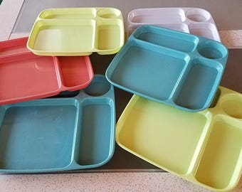 """Mid Century Melmac Divided Trays Children's Plates Lunch Cafeteria Tray set of 6 """" BW"""" marking on bottom"""