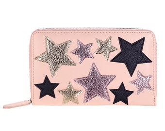 Travel organiser/wallet pink star party