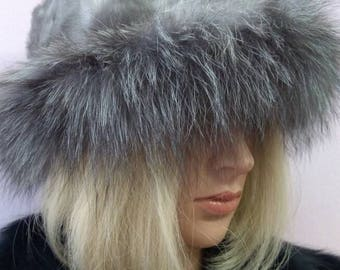 New!Natural,Real MINK modern style Fur HAT with Silver Fox stripe!!!