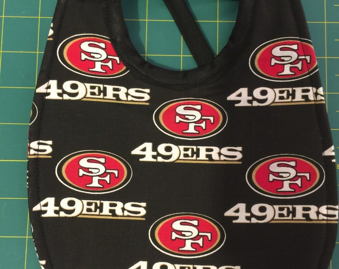 Baby Bib San Francisco 49er's Inspired Fabric Print.  3 Sizes and 2 Fabric Styles to Choose From!!