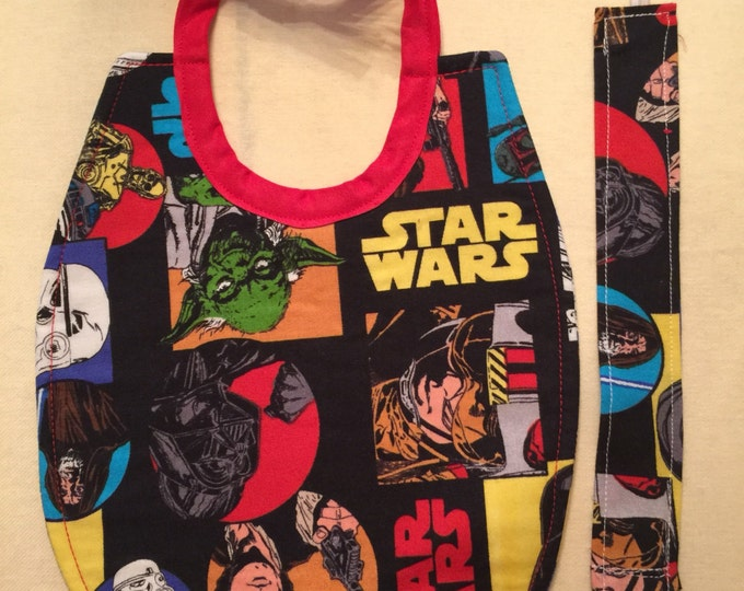 Baby Bib & Pacifier Clip Gift Set Star Wars Inspired Fabric, Choose From 3 Different Fabrics
