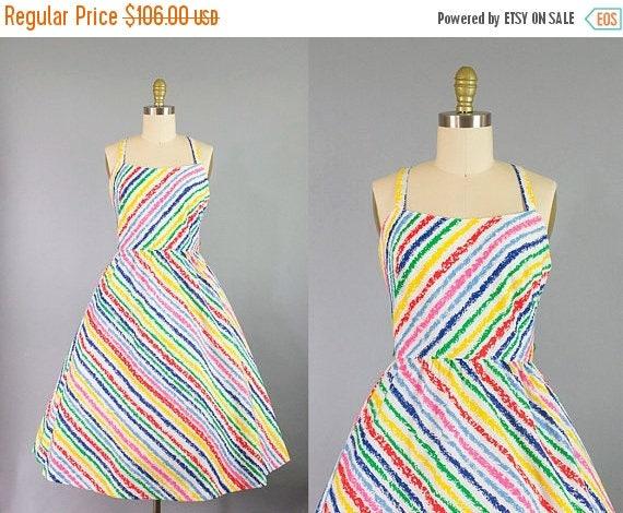 SALE 15% STOREWIDE 1960s Lanz sundress/ 60s crayon novelty print dress/ small