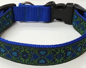 Dog Collar: Gorgeous New Jacquard Blue/Green Ribbon Designer Dog Collar, Stunning Design,Pet Supply, Pet Gift,Gorgeous, Veterinary Gift