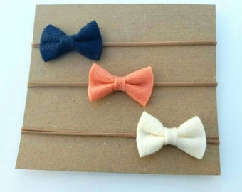 Nylon felt bow headbands - set of 3 - baby girl headbands - navy bue felt bow headband - peach felt bow headband - cream felt bow headband