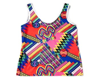 90s Crazy Wild Bright Colorful Abstract Print Boxy Tank Top