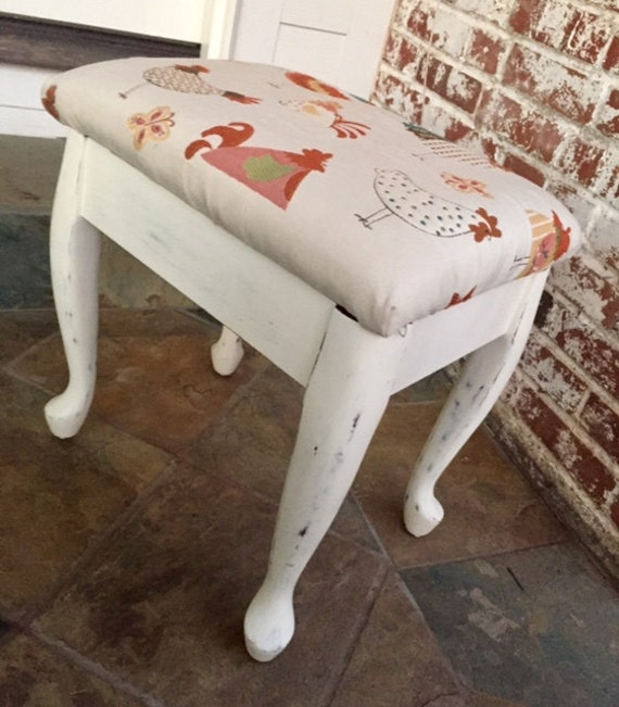 vanity stool piano bench storage stool rooster fabric. Black Bedroom Furniture Sets. Home Design Ideas