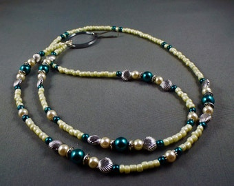"""Beaded breakaway ID lanyard 32"""" to 42"""" with magnetic clasp .toggle or no opening,Teal glass pearl and seashells Name tag holder lanyard cute"""
