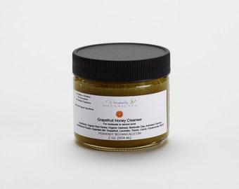 Organic Grapefruit honey cleanser, raw honey mask, honey face wash, clay honey face wash, cystic acne toner, cystic acne skin care