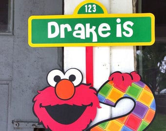 Elmo Hanging Sign - Sesame Street Sign - Personalized Sesame Street Sign - Elmo Door Sign - Elmo Birthday Banner - Sesame Street Banner