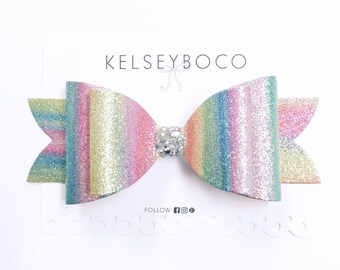 Watercolor Rainbow Bow