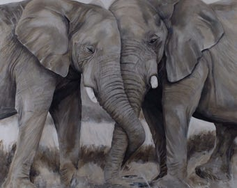 Elephant Friends Oil Painting